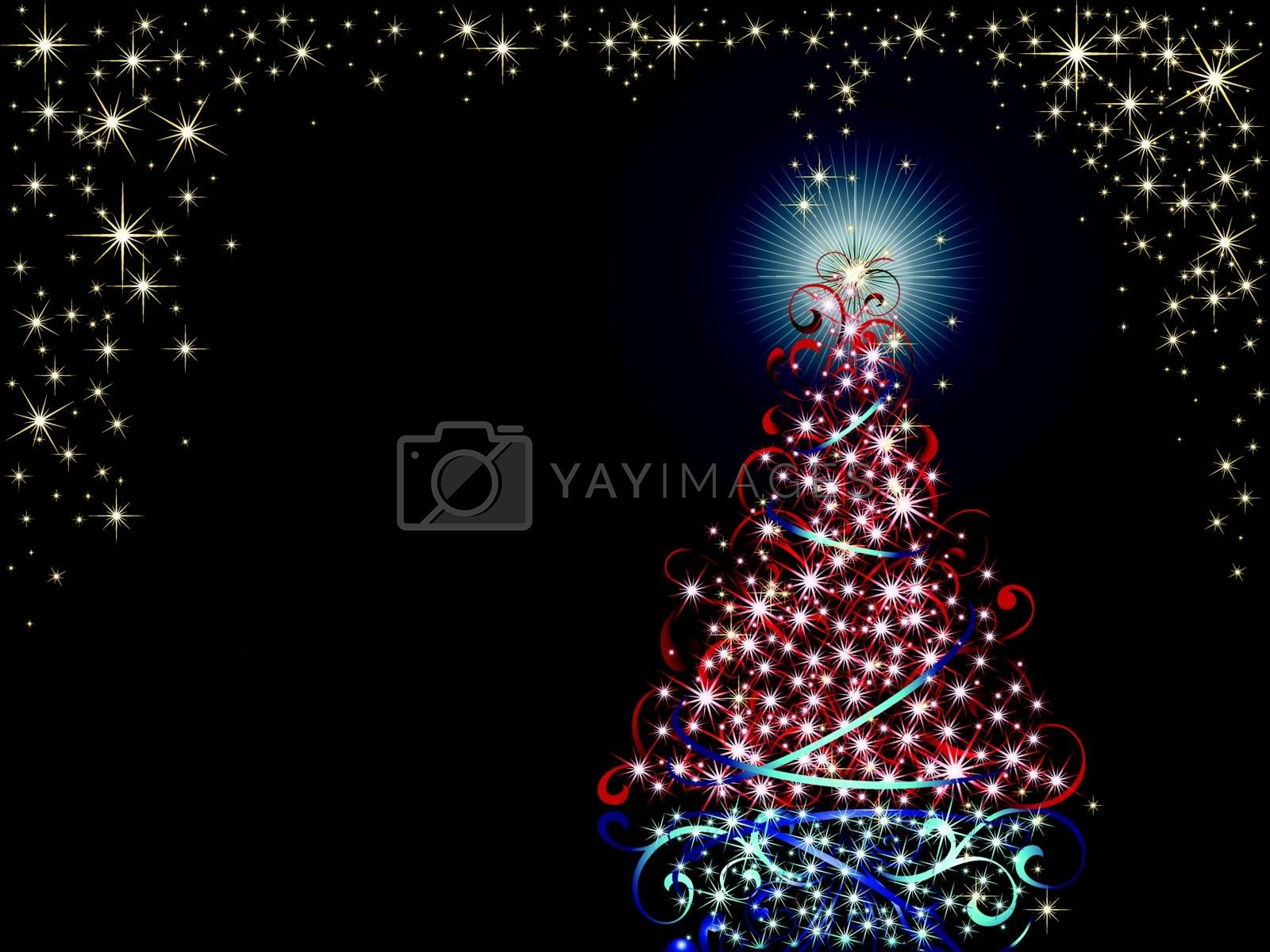 Christmas tree on snowy winter background