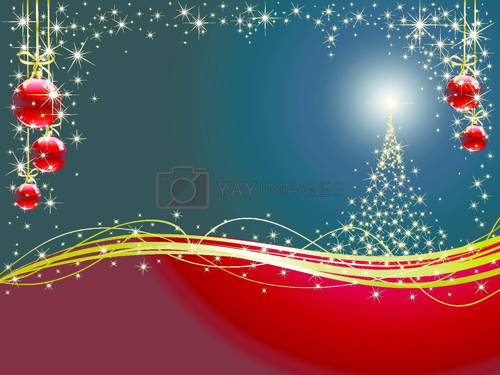 Christmas tree and Christmas ball hanging on golden ribbon on snowy winter background
