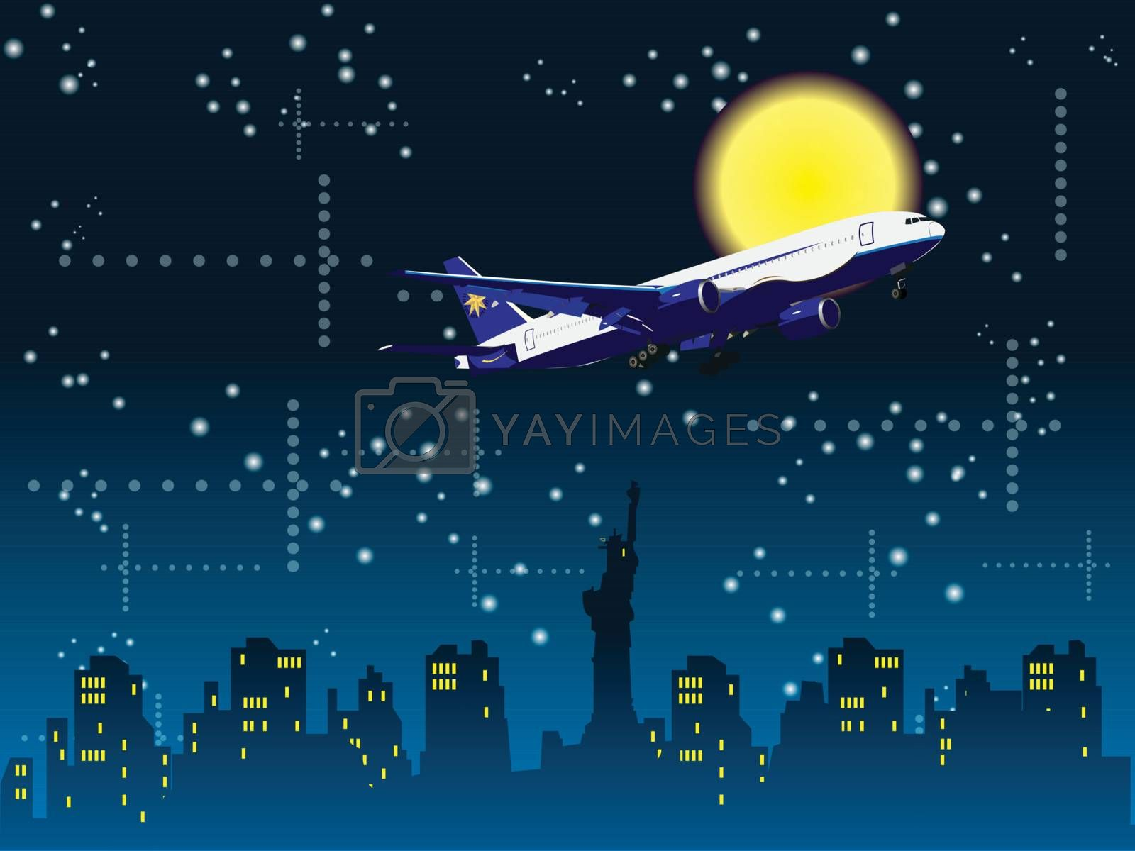 Aircraft flying to New York in the night