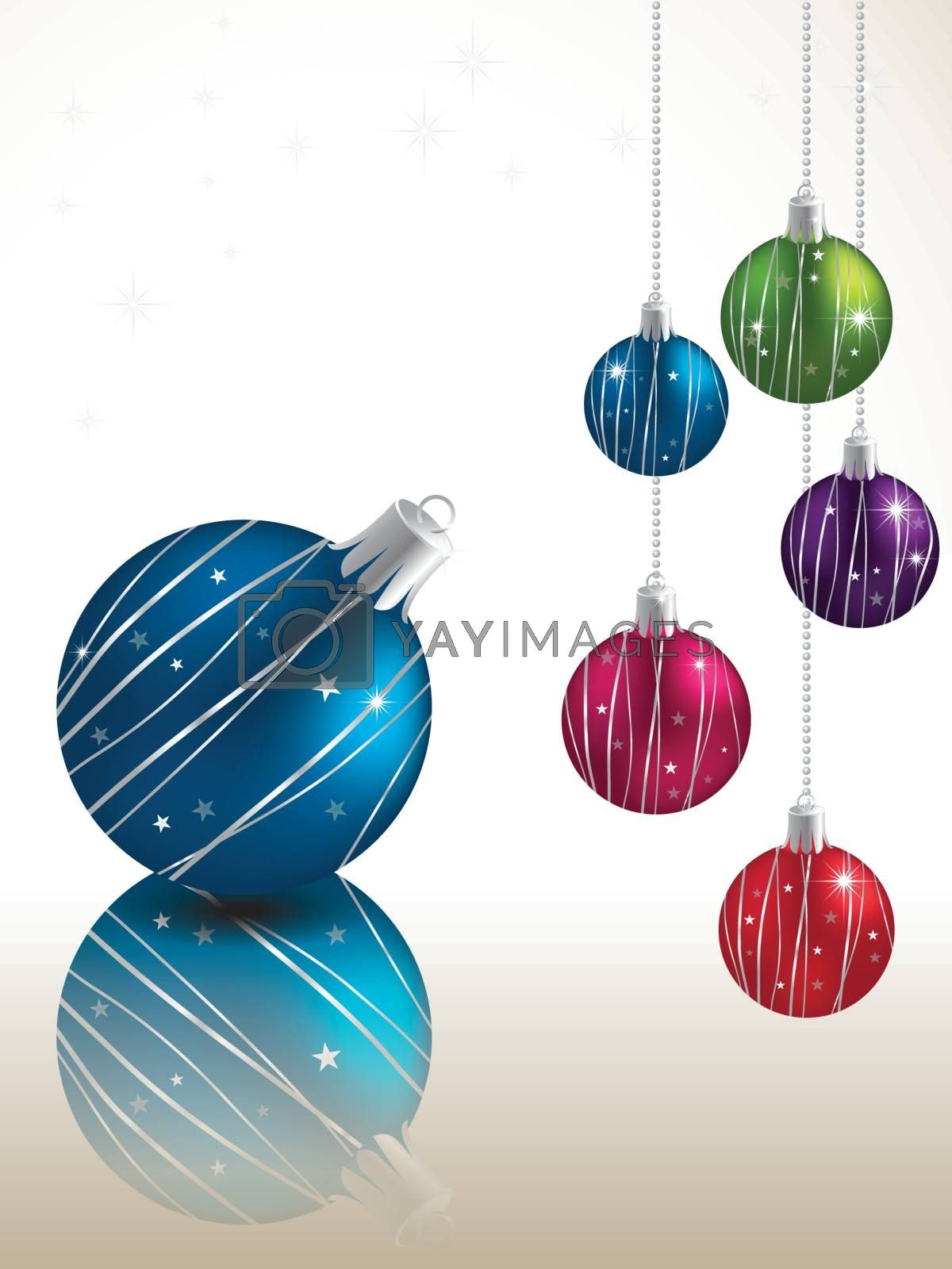 Colorful Christmas ball hanging on snowy winter background