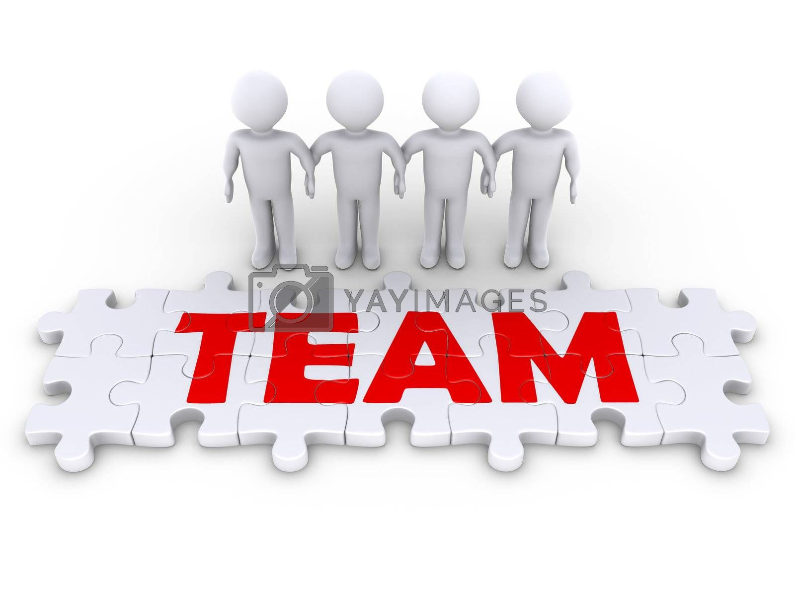 Four 3d people holding hands and puzzle pieces spelling the word team