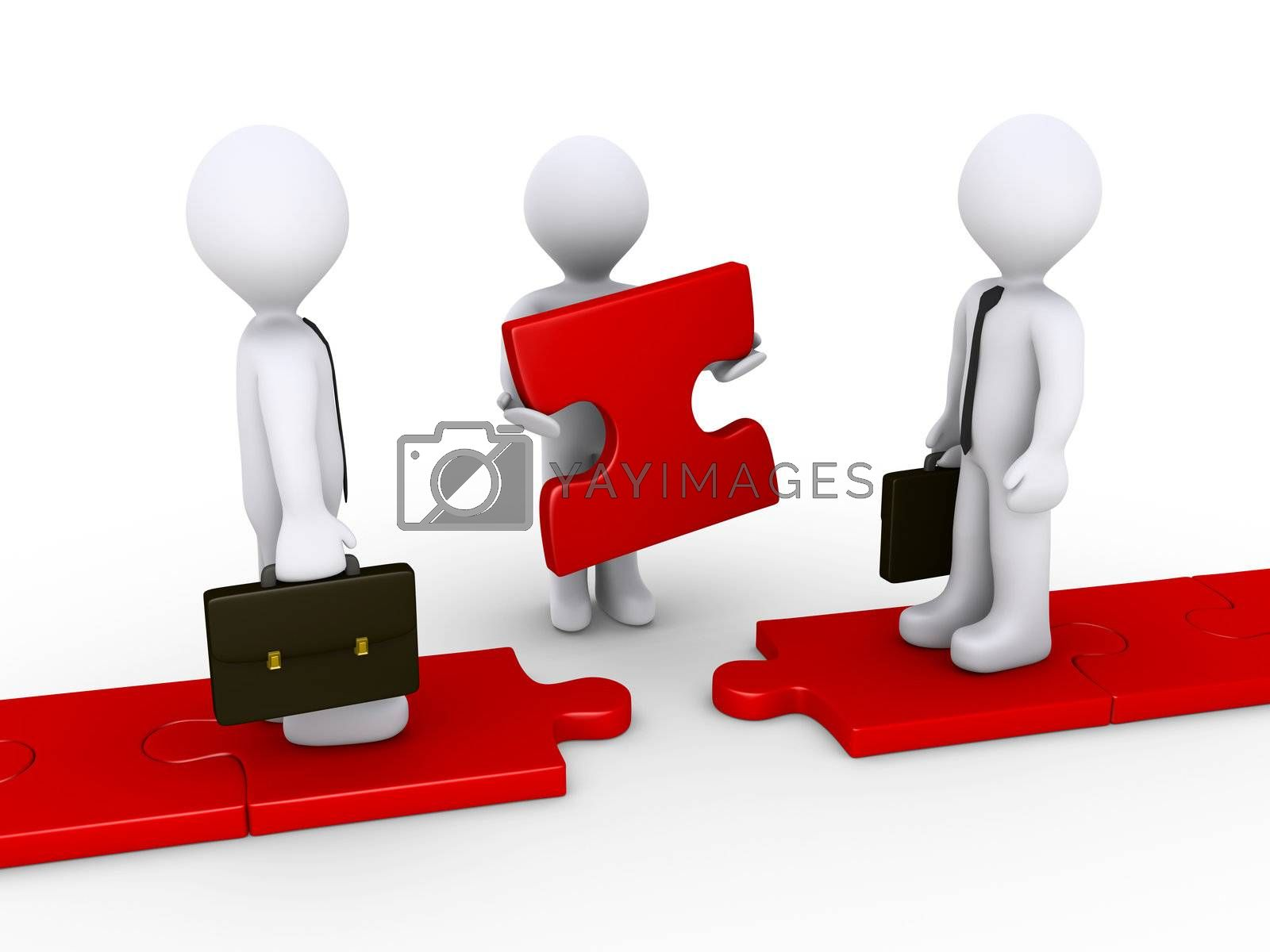 Two 3d businessmen standing on red puzzle path and another is holding the missing piece