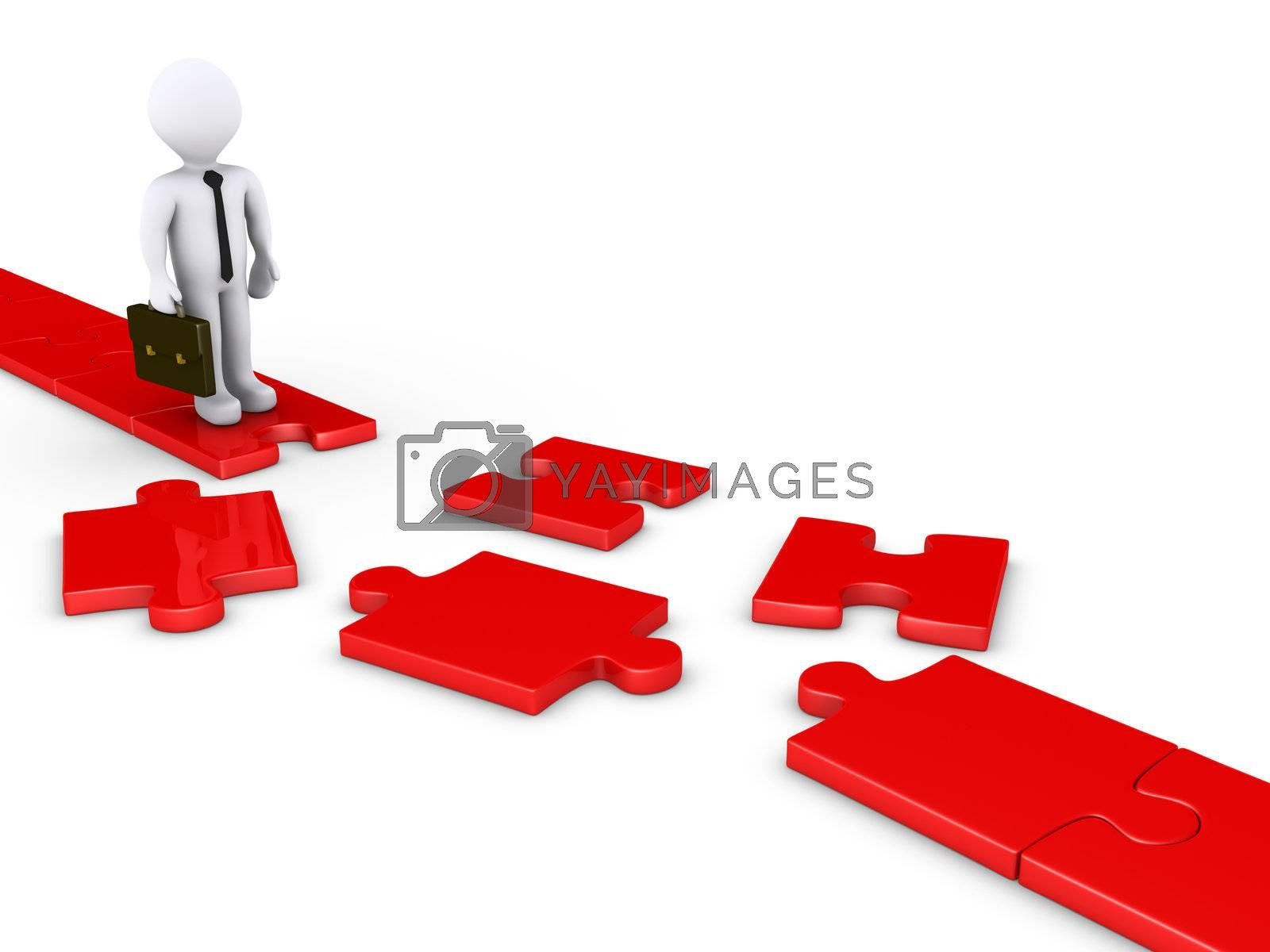 3d businessman standing on edge of a damaged puzzle path