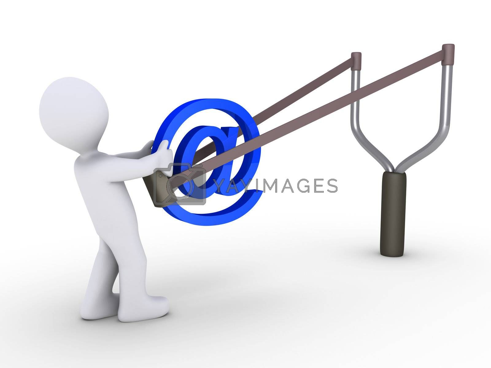 3d person is sending e-mail using a slingshot