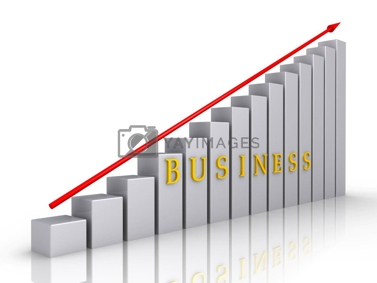 Grey chart with red arrow and the word business
