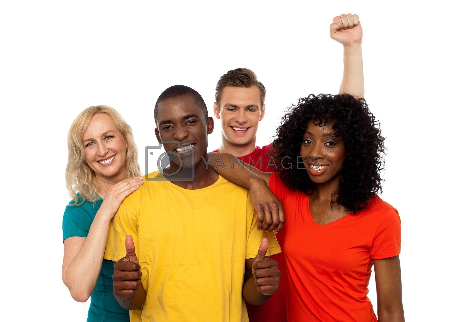 Group of friends enjoying themselves isolated against white background