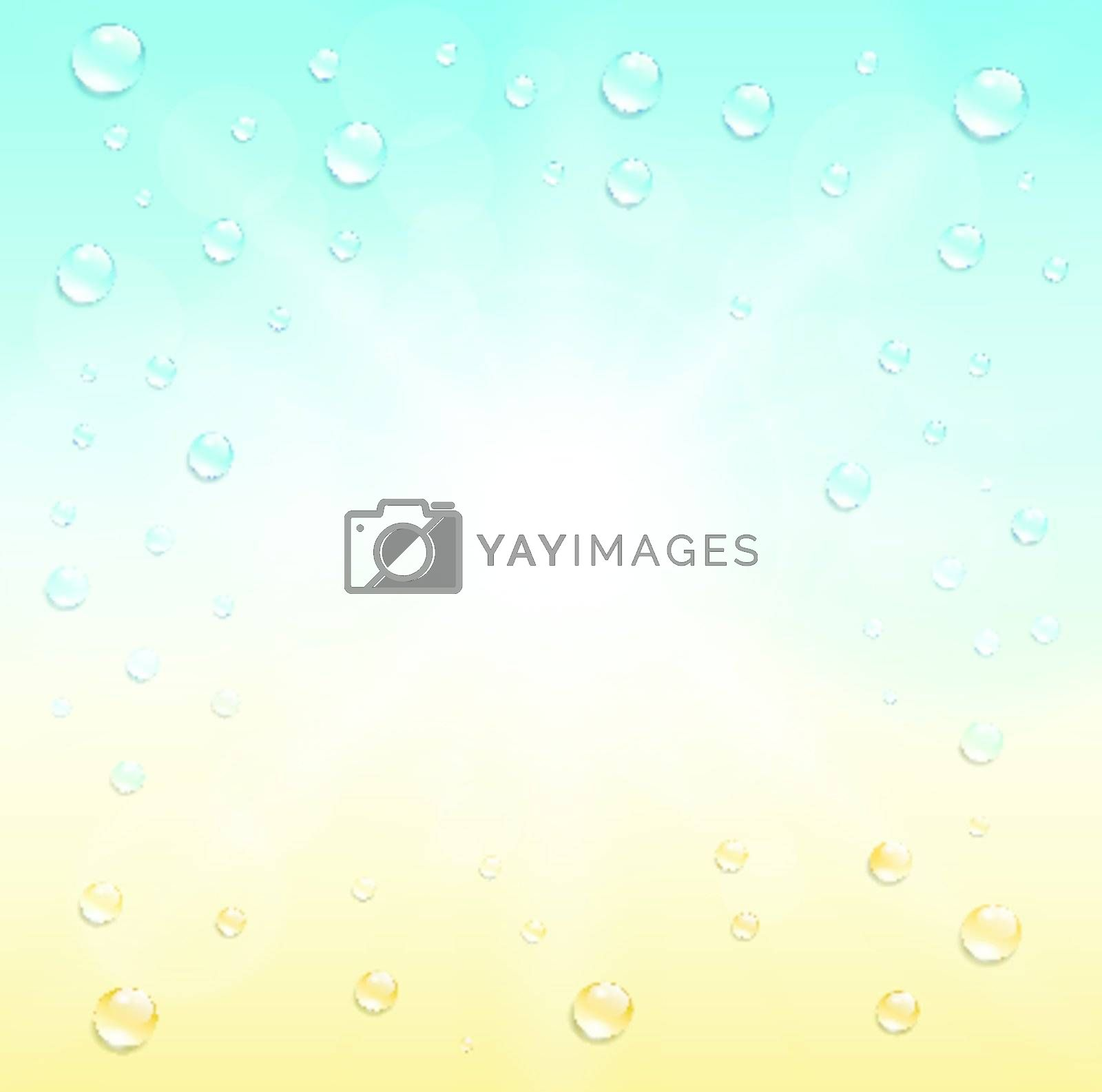 Sunny summer background, with water drops.
