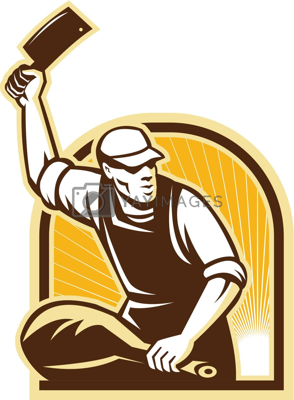Illustration of butcher with meat cleaver cutting leg of ham done in retro style.