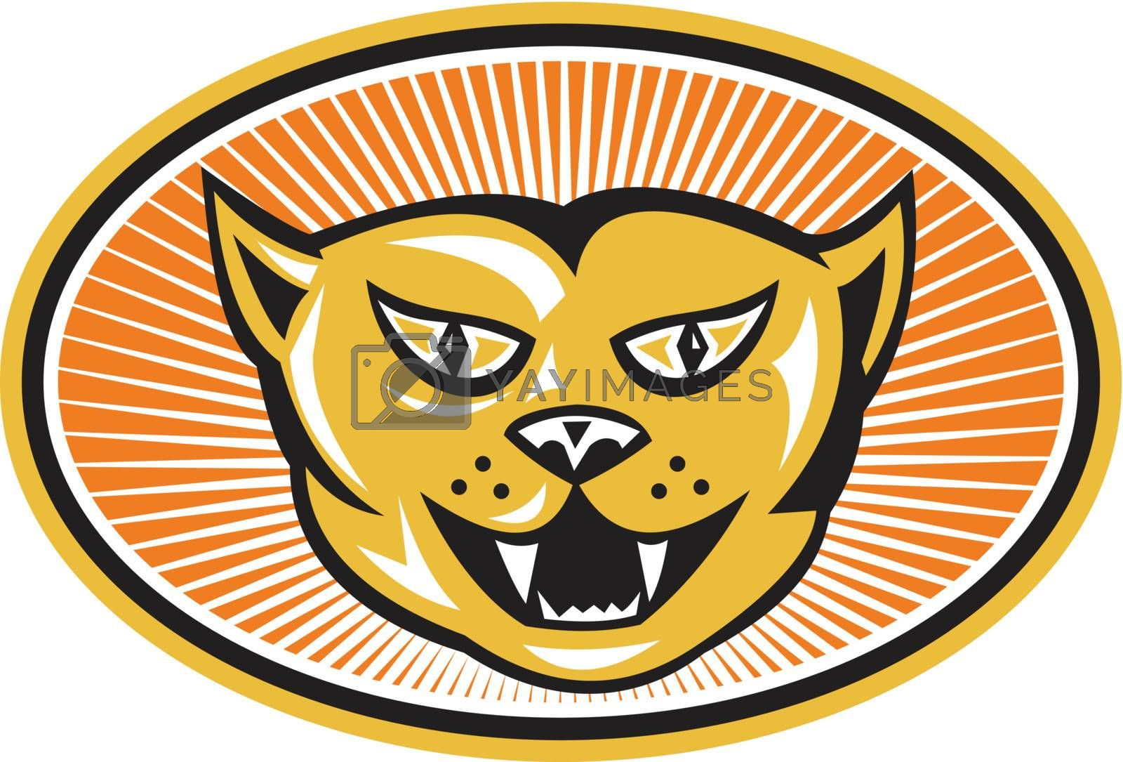 Illustration of  cat head facing front set inside ellipse with sunburst in background done in retro style.