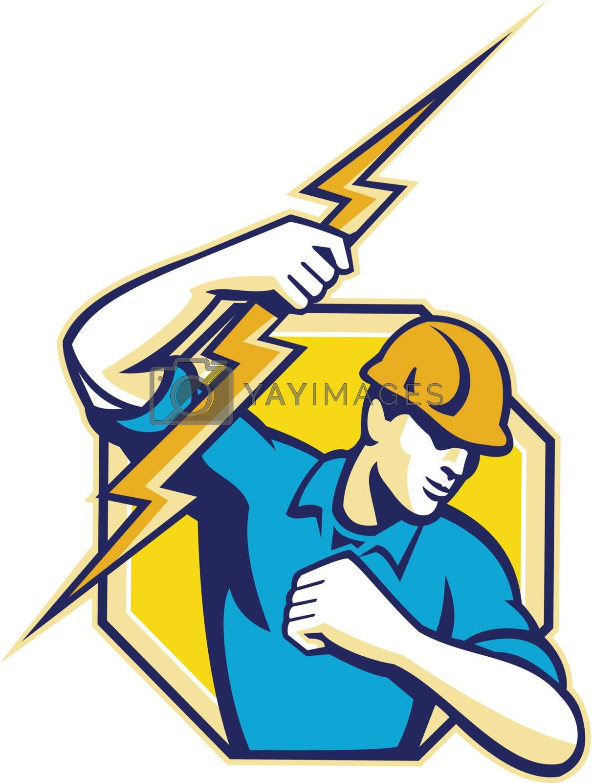 Illustration of an electrician construction worker holding a lightning bolt set inside hexagon done in retro style in isolated white background.