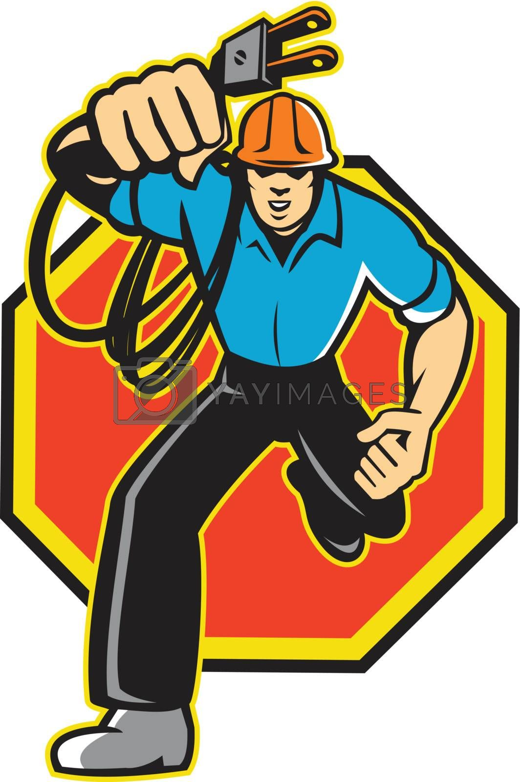 Illustration of an electrician construction worker holding an electrical electric plug with cord running front view set inside hexagon done in retro style in isolated white background.
