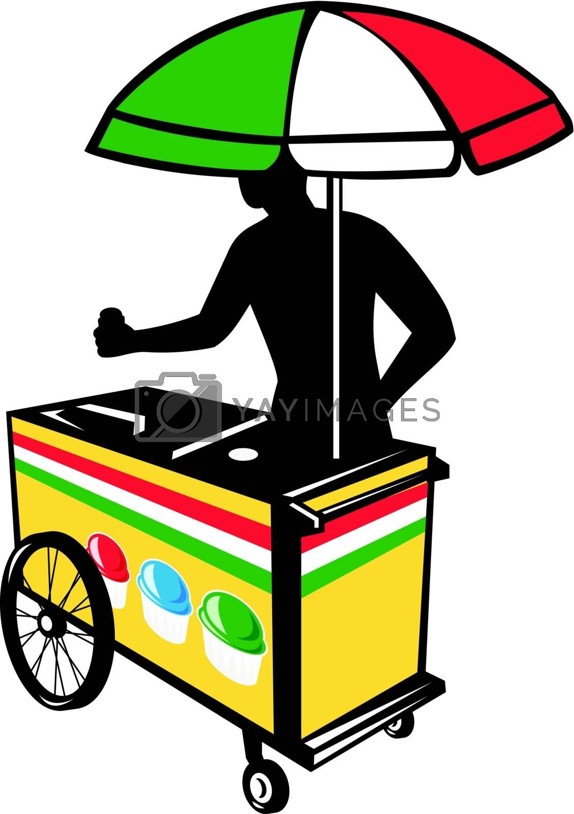 Illustration of an Italian ice push cart vending vendor with umbrella in flag of Italy colors done in retro style on isolated white background business card format.