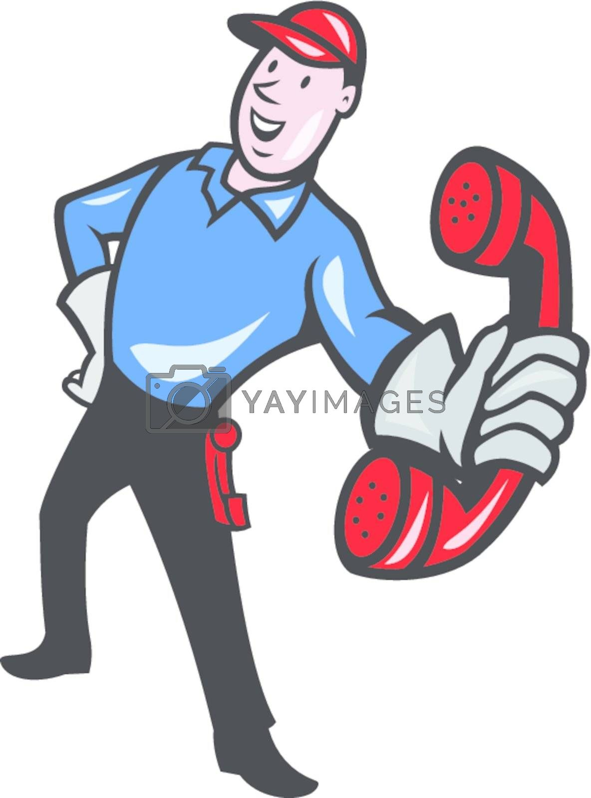 Illustration of telephone repairman worker tradesman holding out phone done in cartoon style on isolated white background