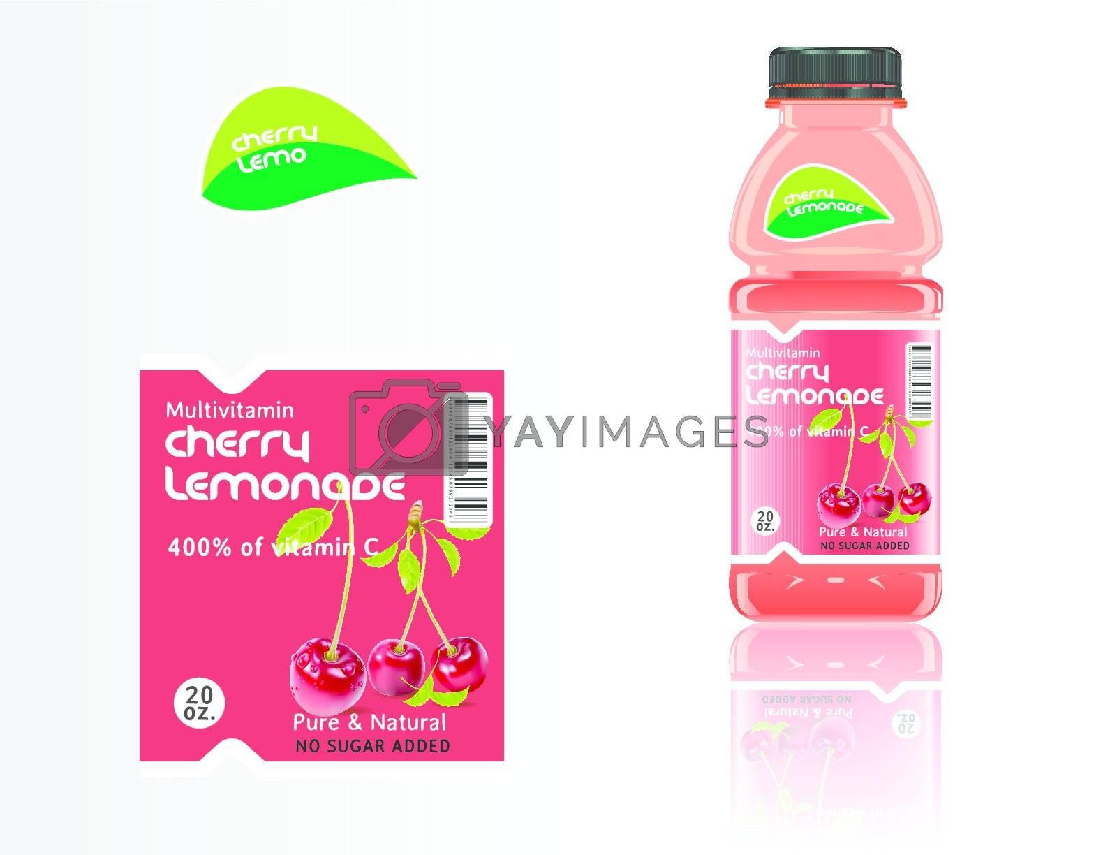 Set of bottles, juice and labels