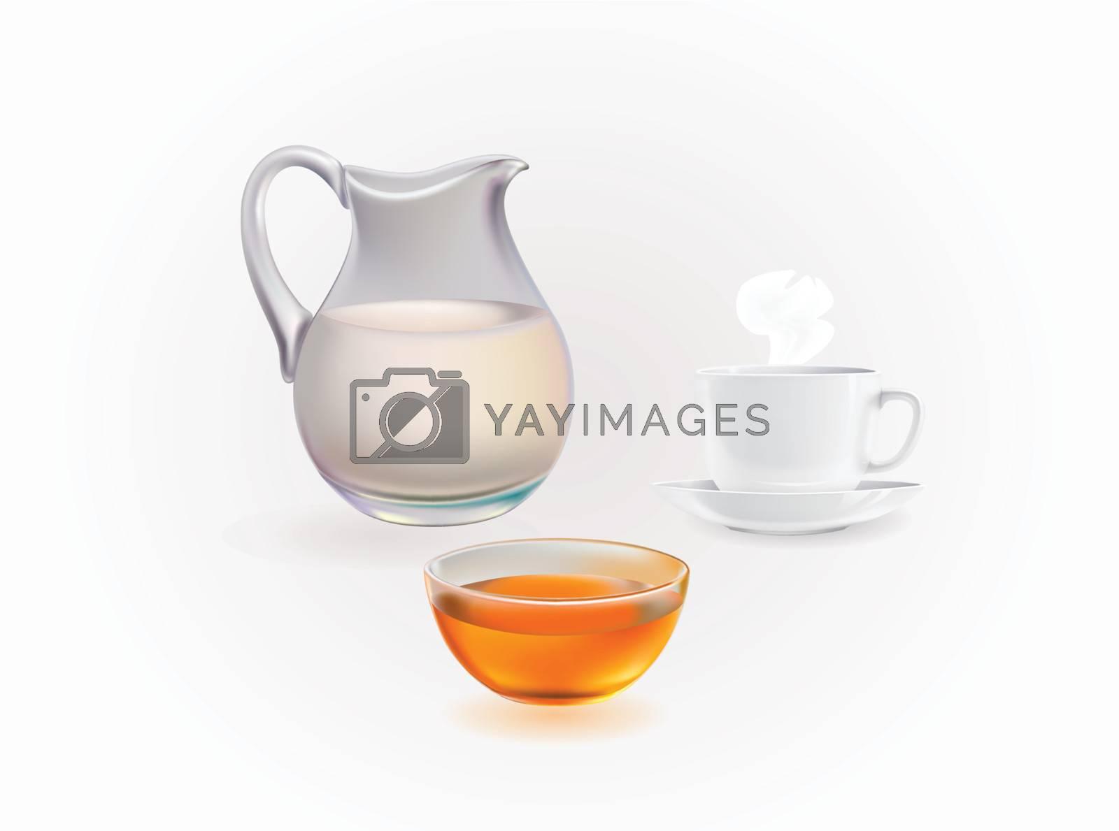 Honey, milk, coffee vector image set