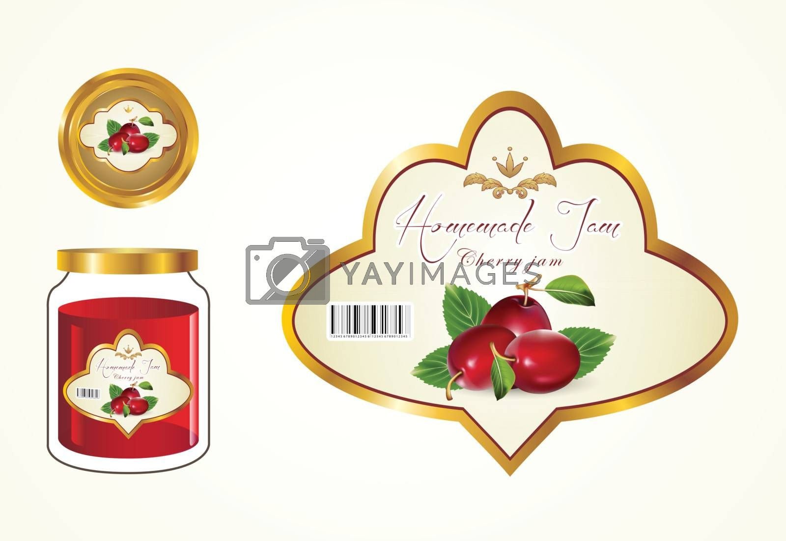 Labels, fruit jam, jam jars and lids to see the label.