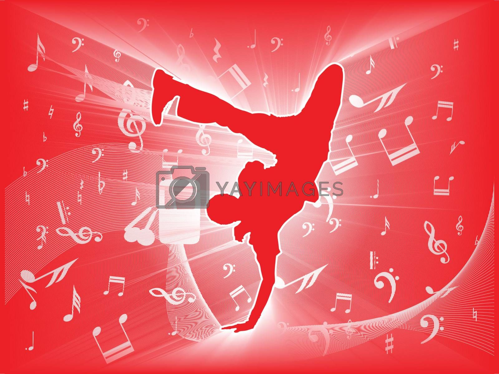 The dancers are dancing on a red background        musical background