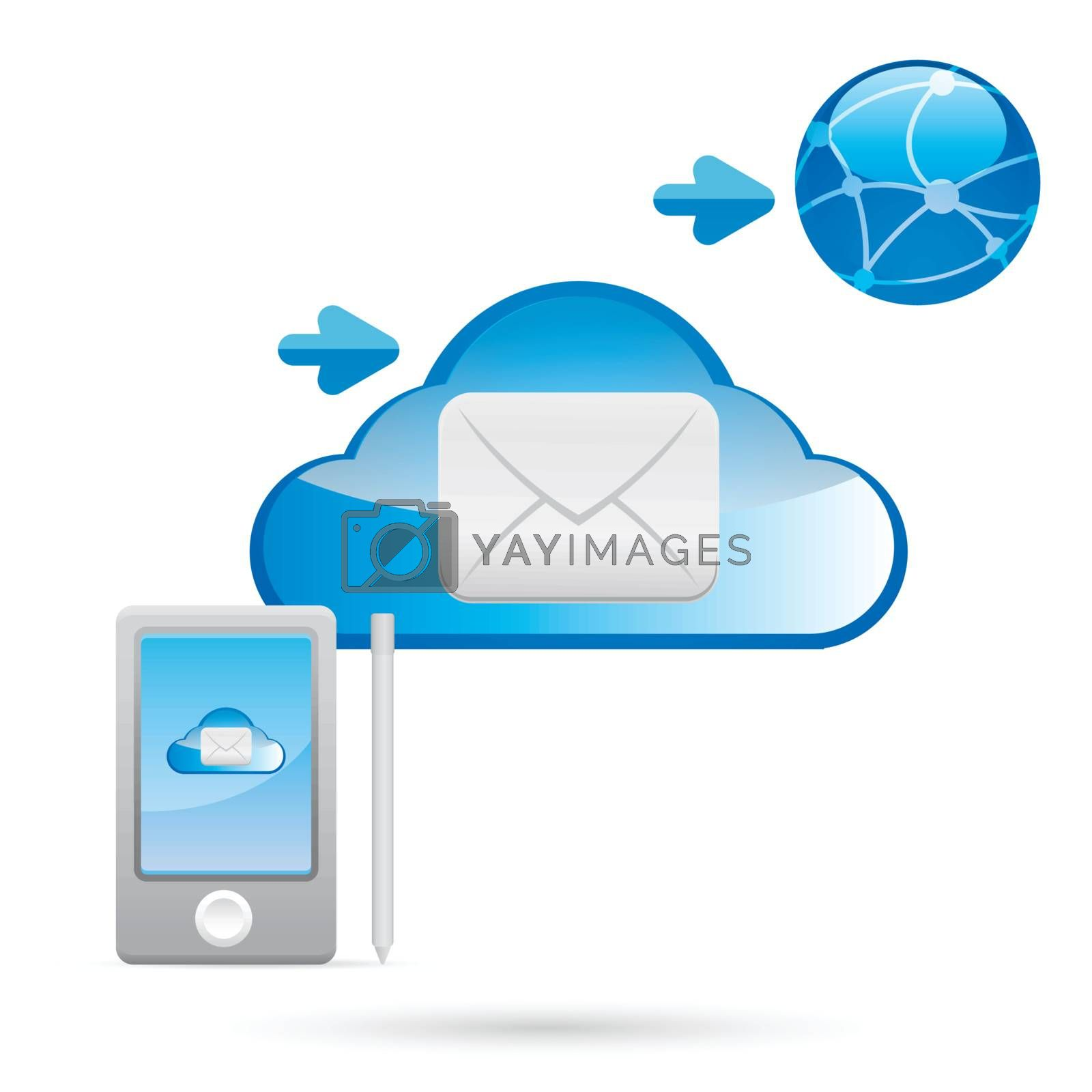 e-mail, email, envelope, Cloud, clouds