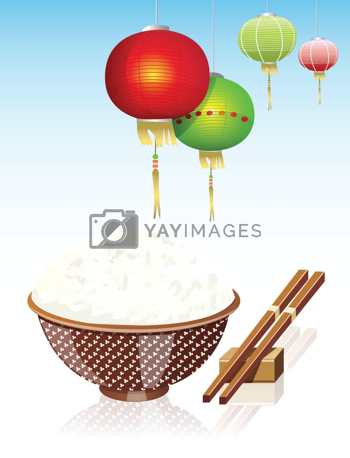 Chinese rice and Chinese lamp