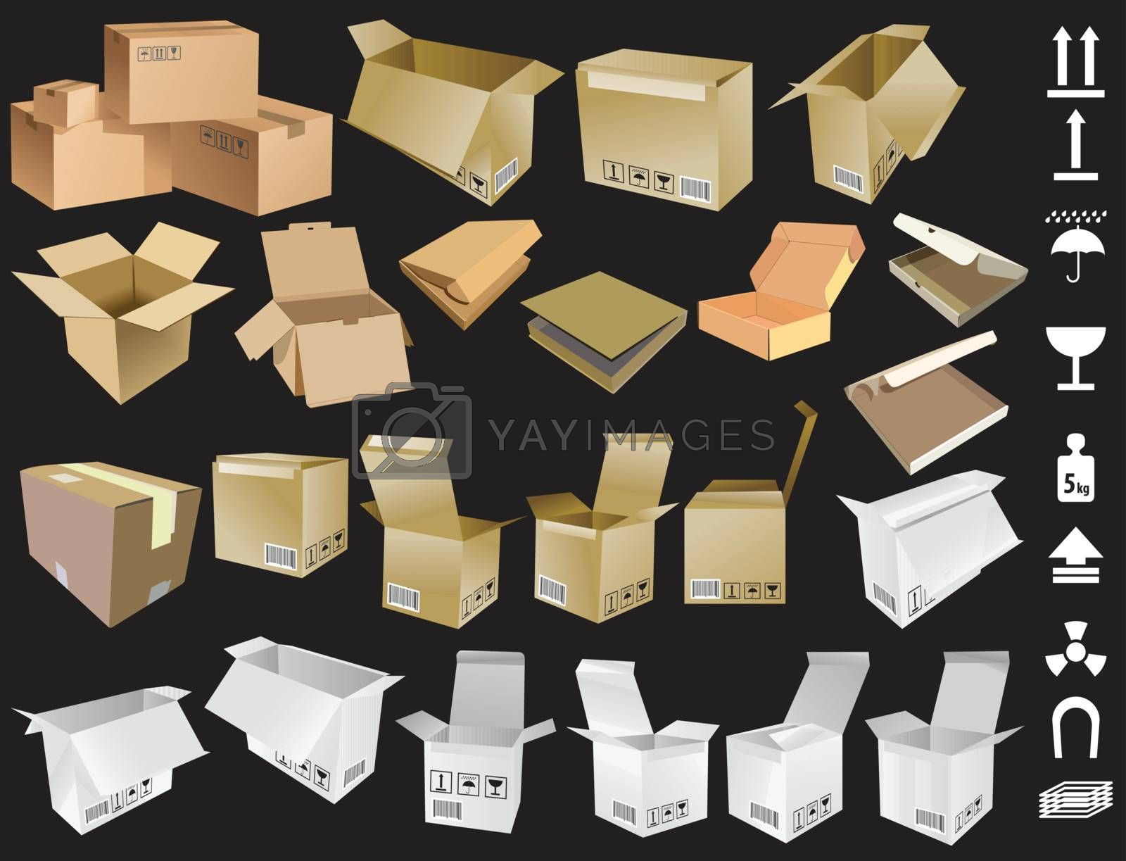 Collection of Cardboard boxes and signs