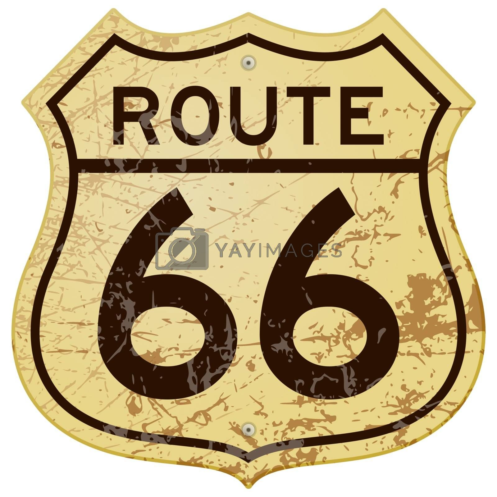 Vintage roadsign illustration full of rust and scratches