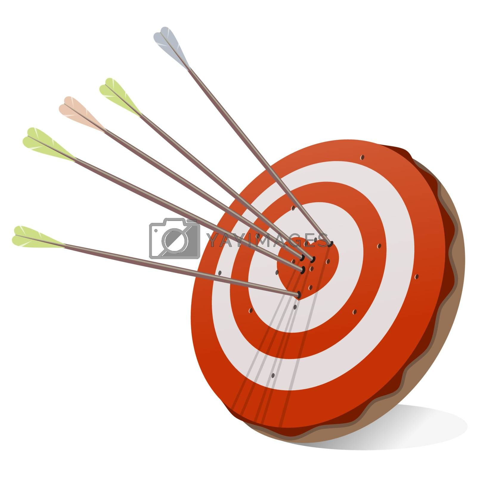 Romantic illustration of red target with love heart in the center