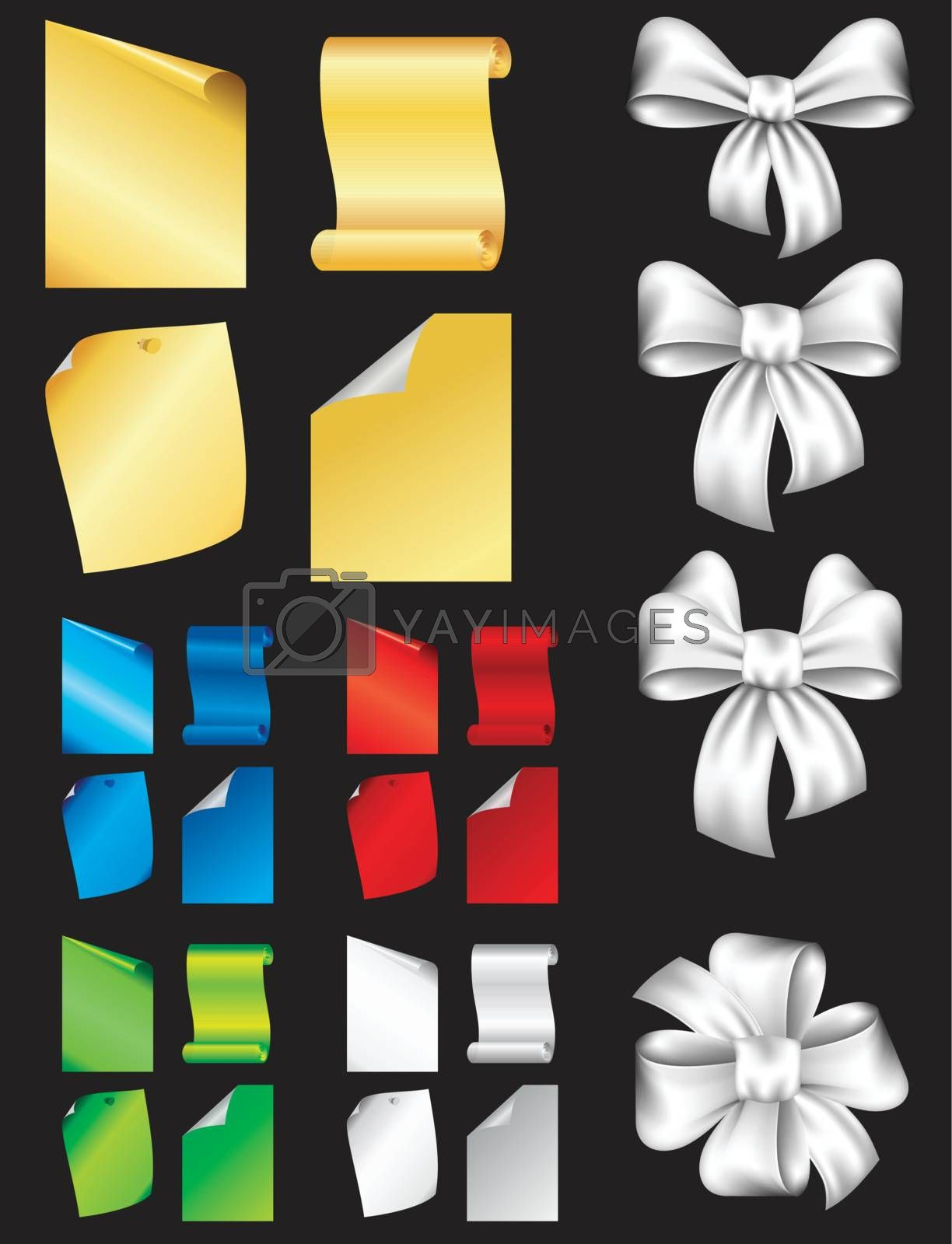Paper note set and Bow set on A black background.