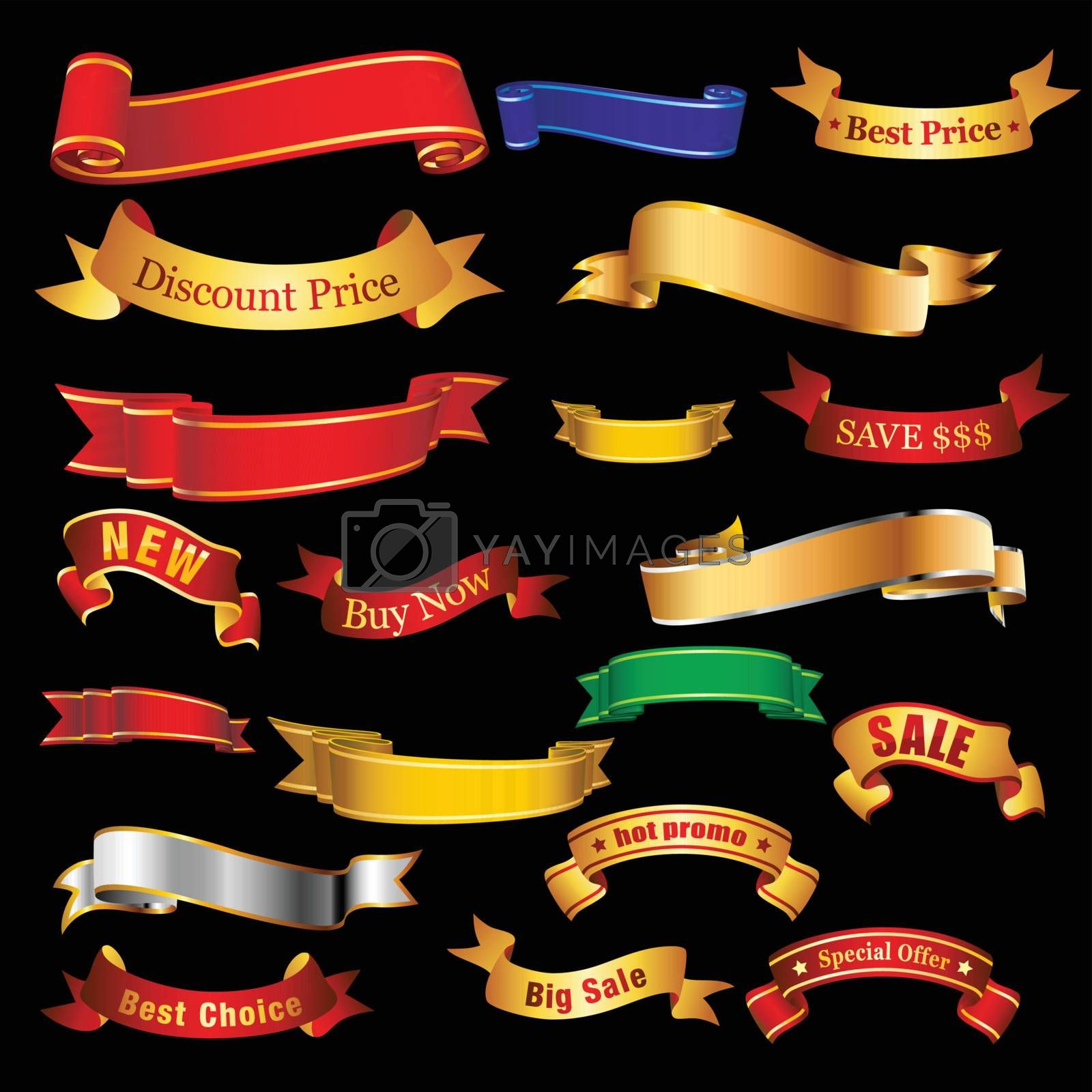 Collection of red and gold ribbon tapes