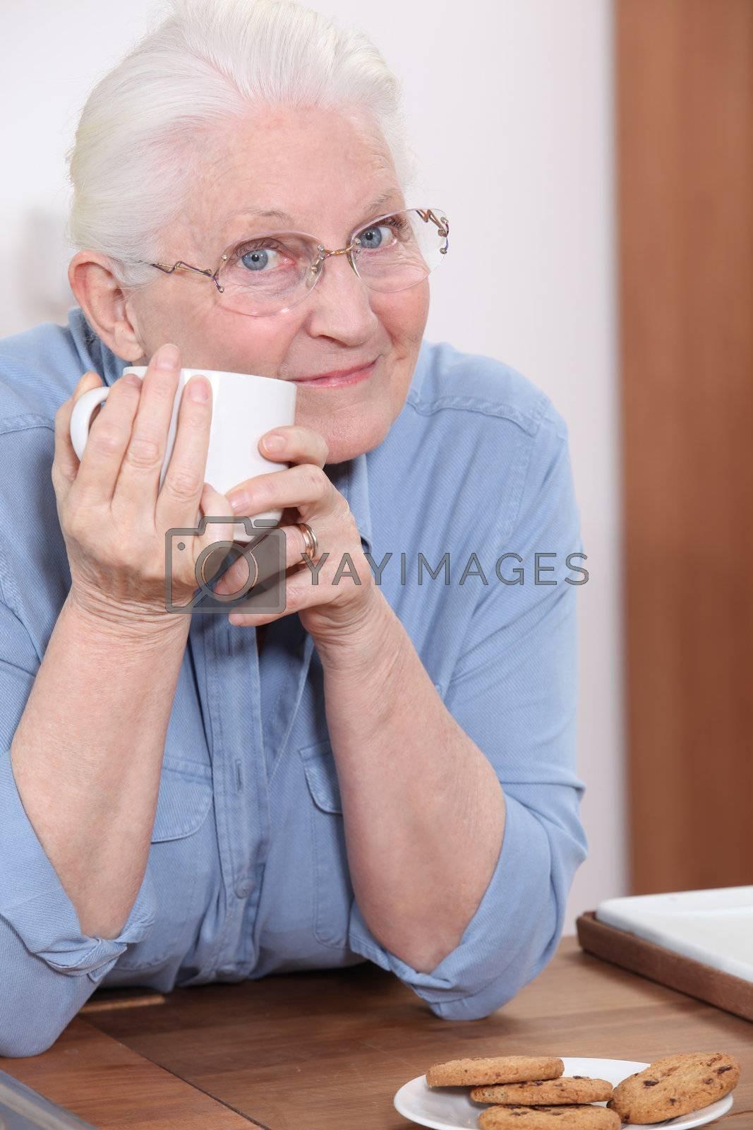 grandmother having coffee