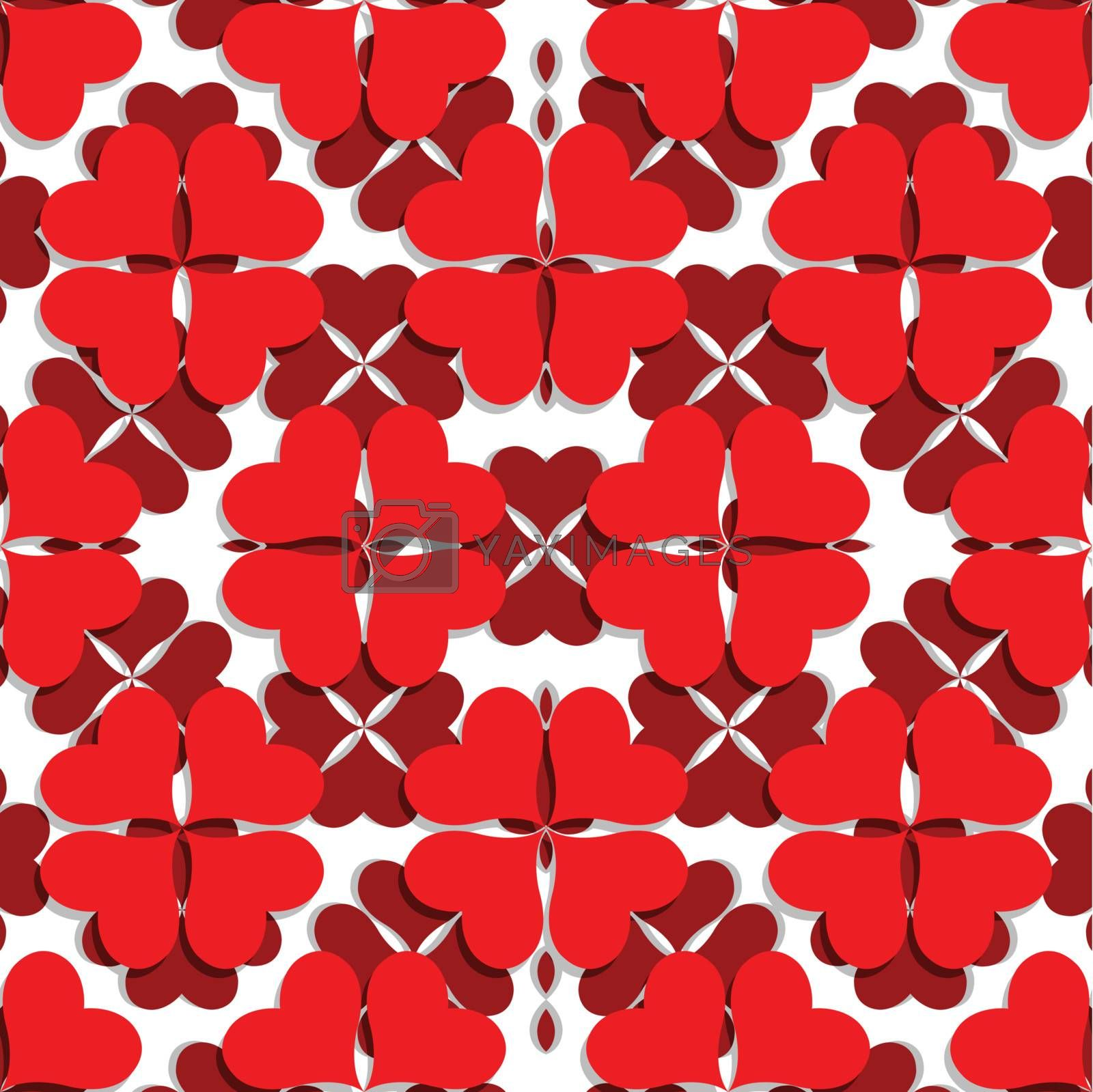 valentine pattern with shamrock shaped hearts, abstract seamless texture; vector art illustration