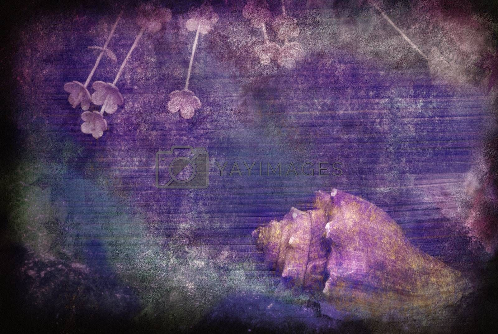 textured vintage grunge postcard with sea snail and flowers