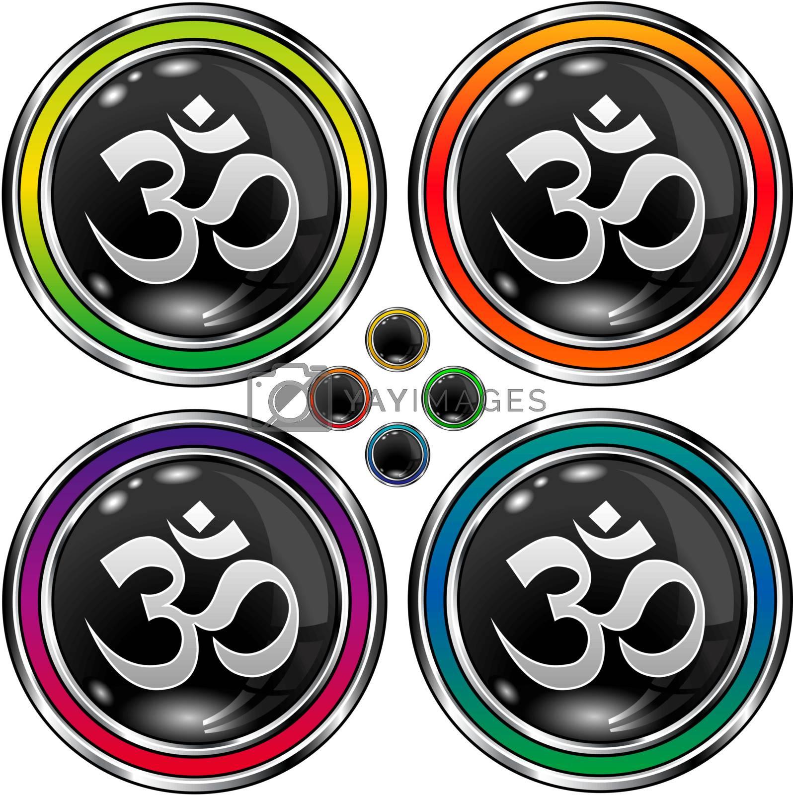 Hindu om icon on round vector button