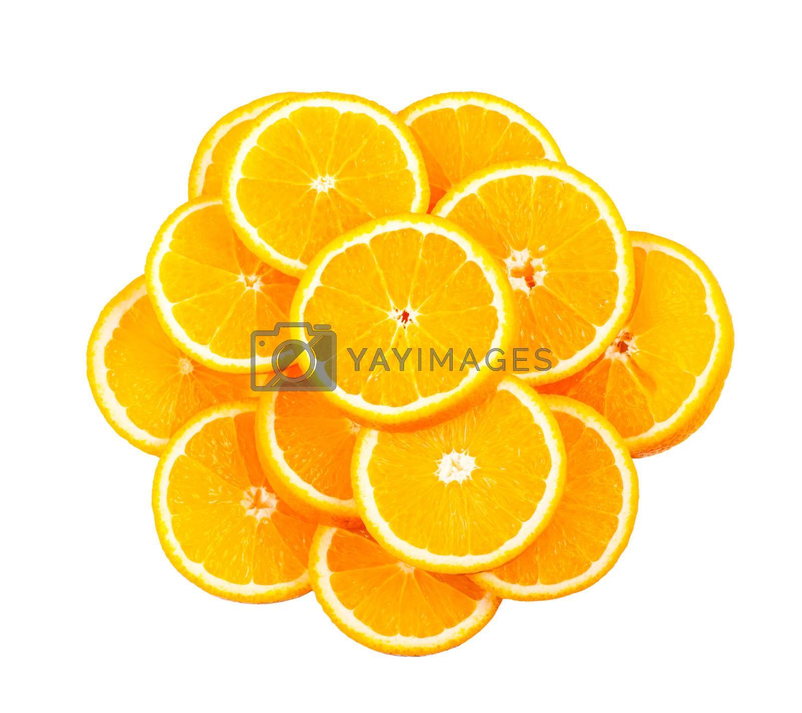 Fresh juicy orange slices isolated over white background