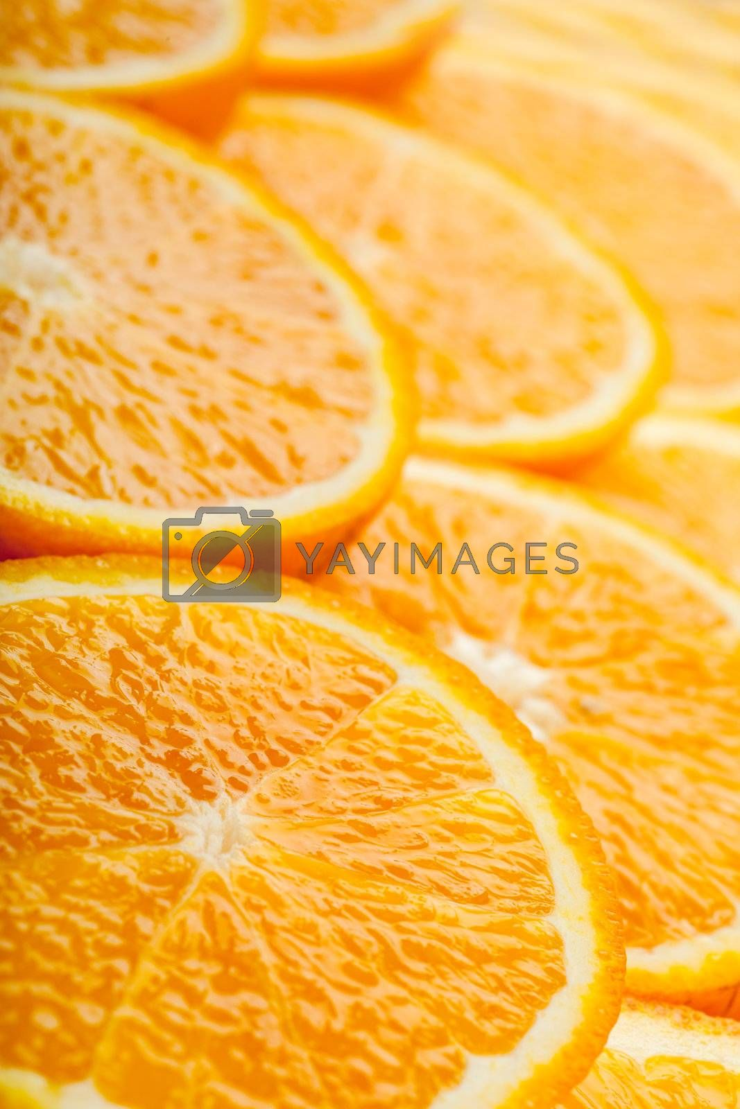 Abstract background with fresh juicy orange slices