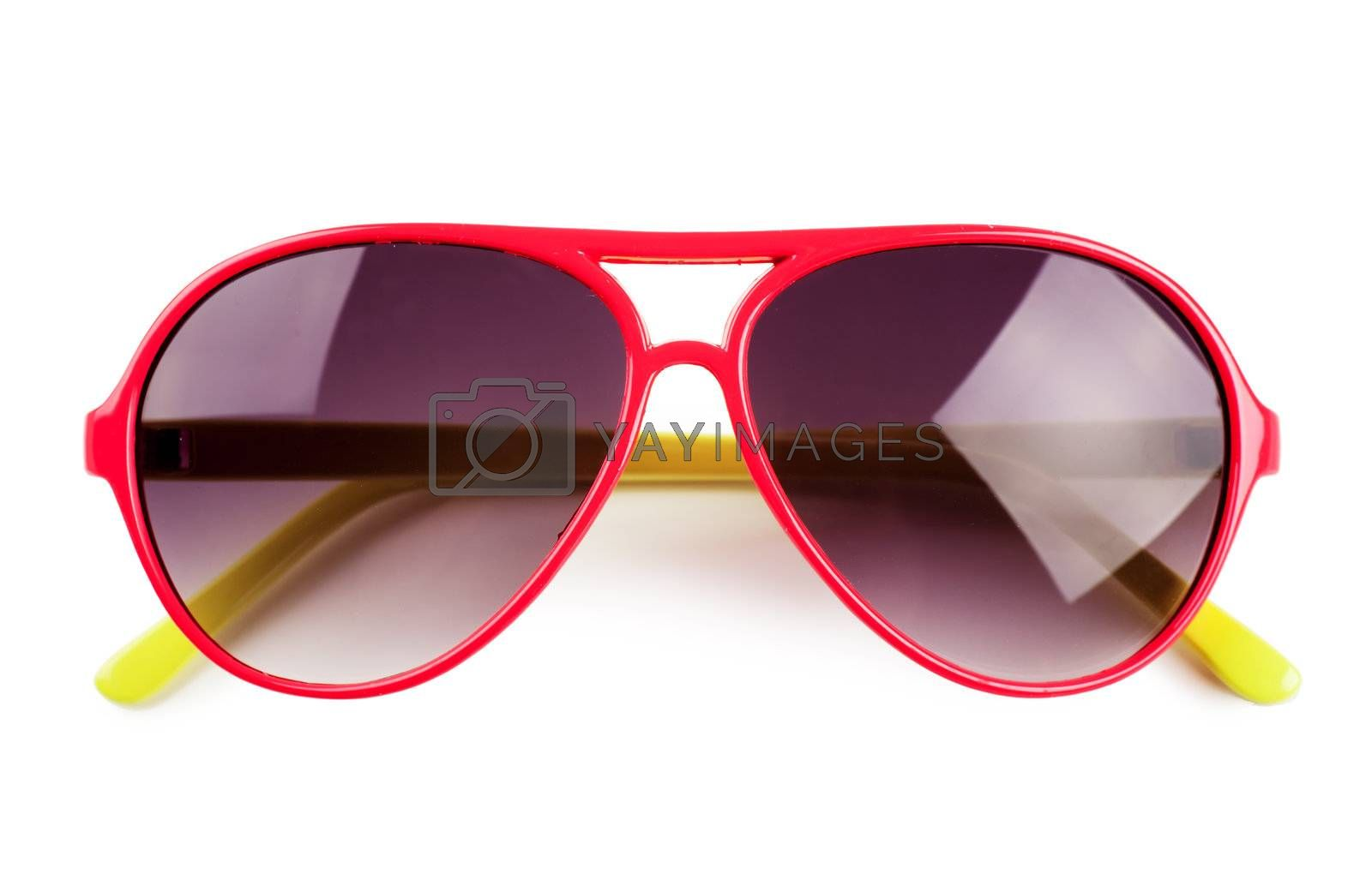 Closeup view of sunglasses isolated over white background