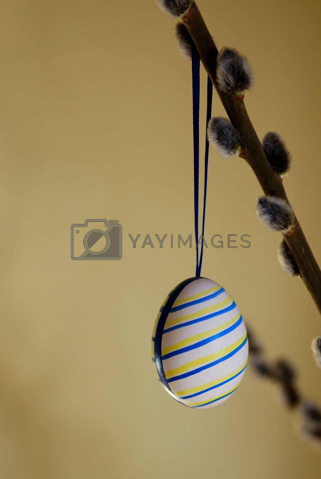 beautifully striped painted Easter egg for easter palm