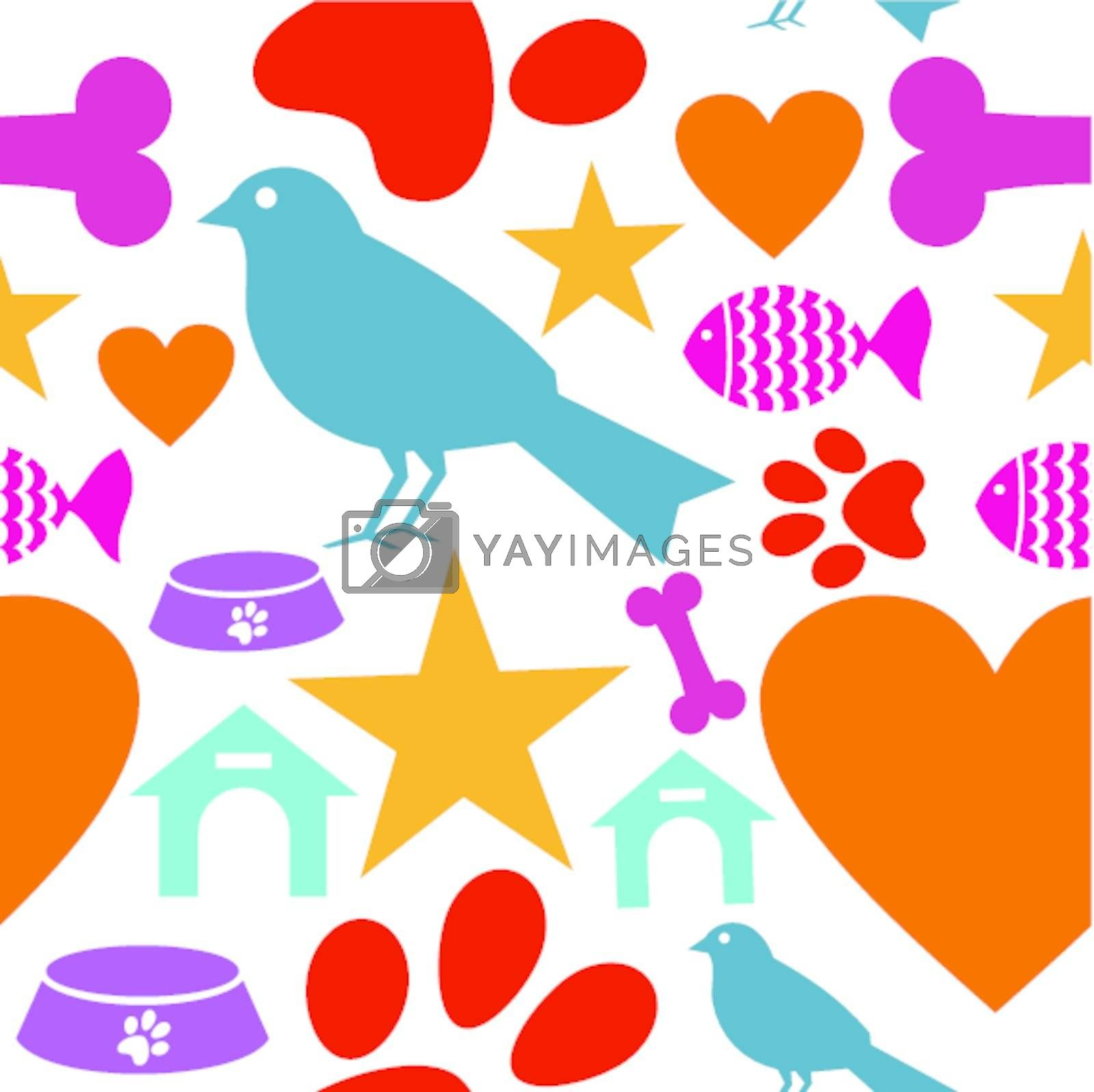 Pets care icons set seamless pattern background. Vector illustration layered for easy manipulation and custom coloring.