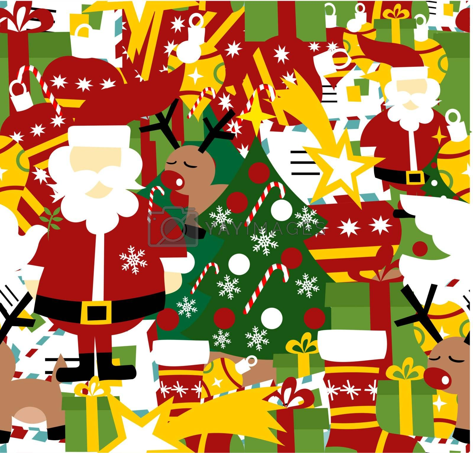 Christmas decorative elements seamless pattern background. Vector illustration layered.