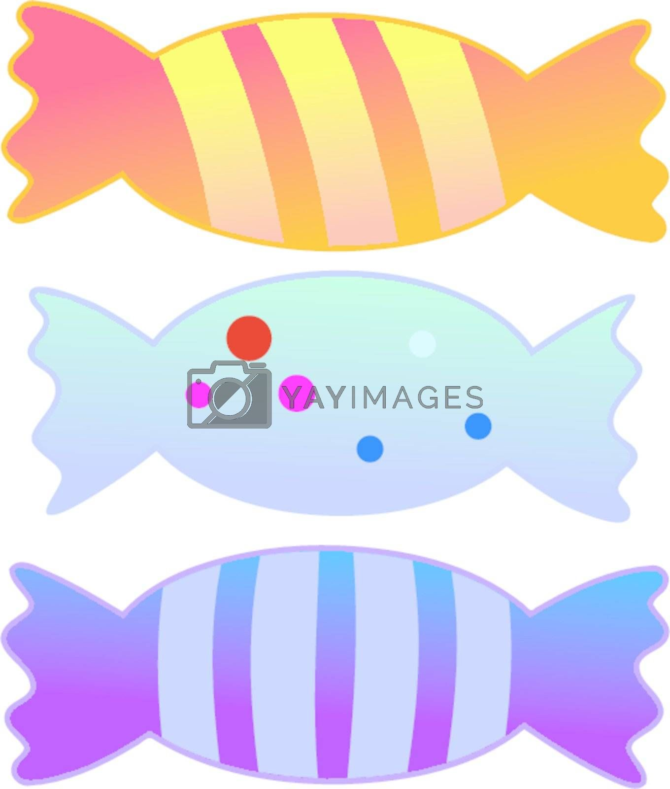 Set of colored candies on white background
