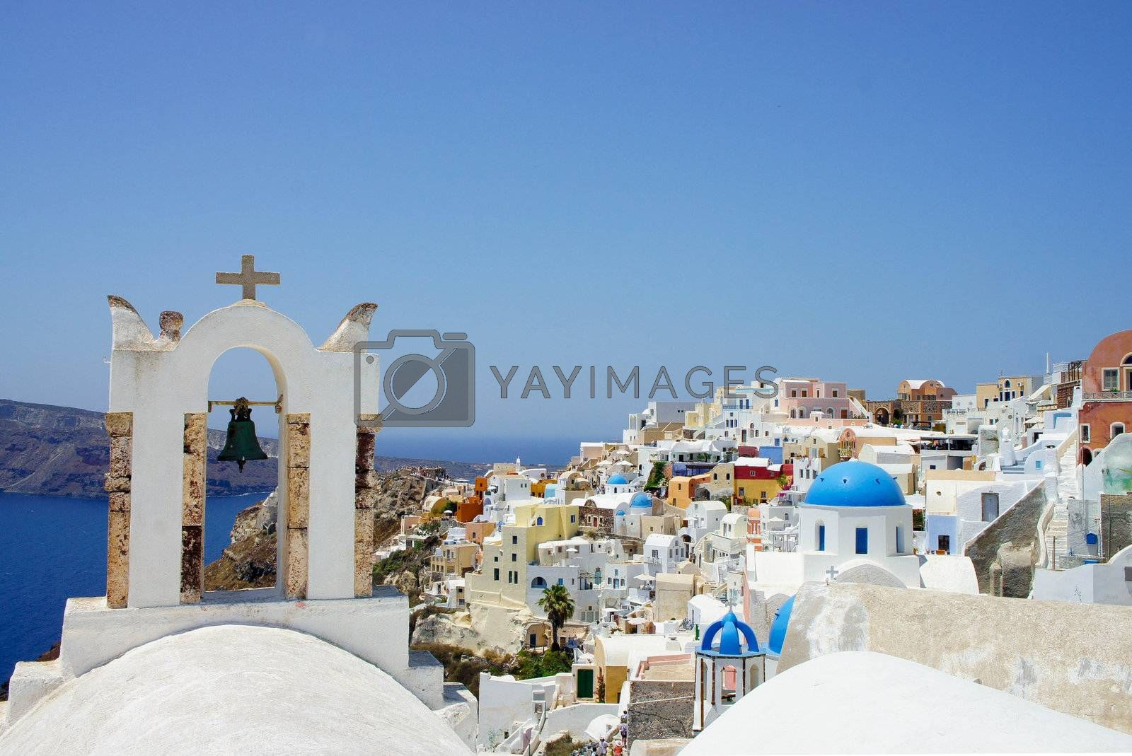 Amazing white houses of Santorini, Greece, sunny summer day