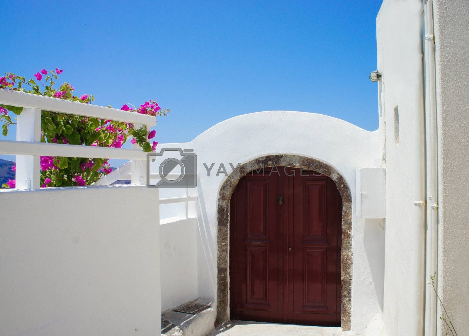Santorini terrace with pink beautiful flowers and small doors