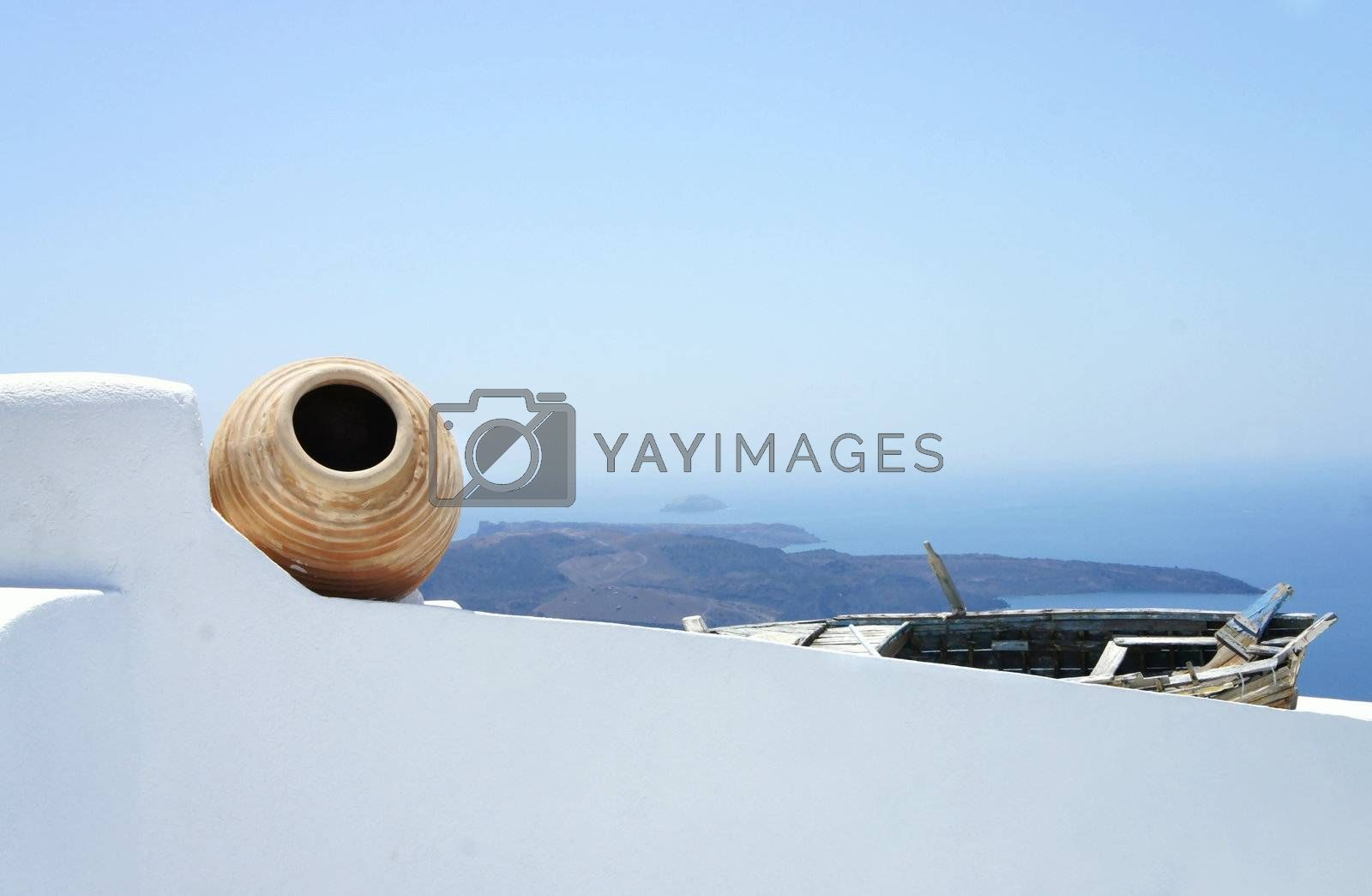 Views of Santorini, composition with old pot