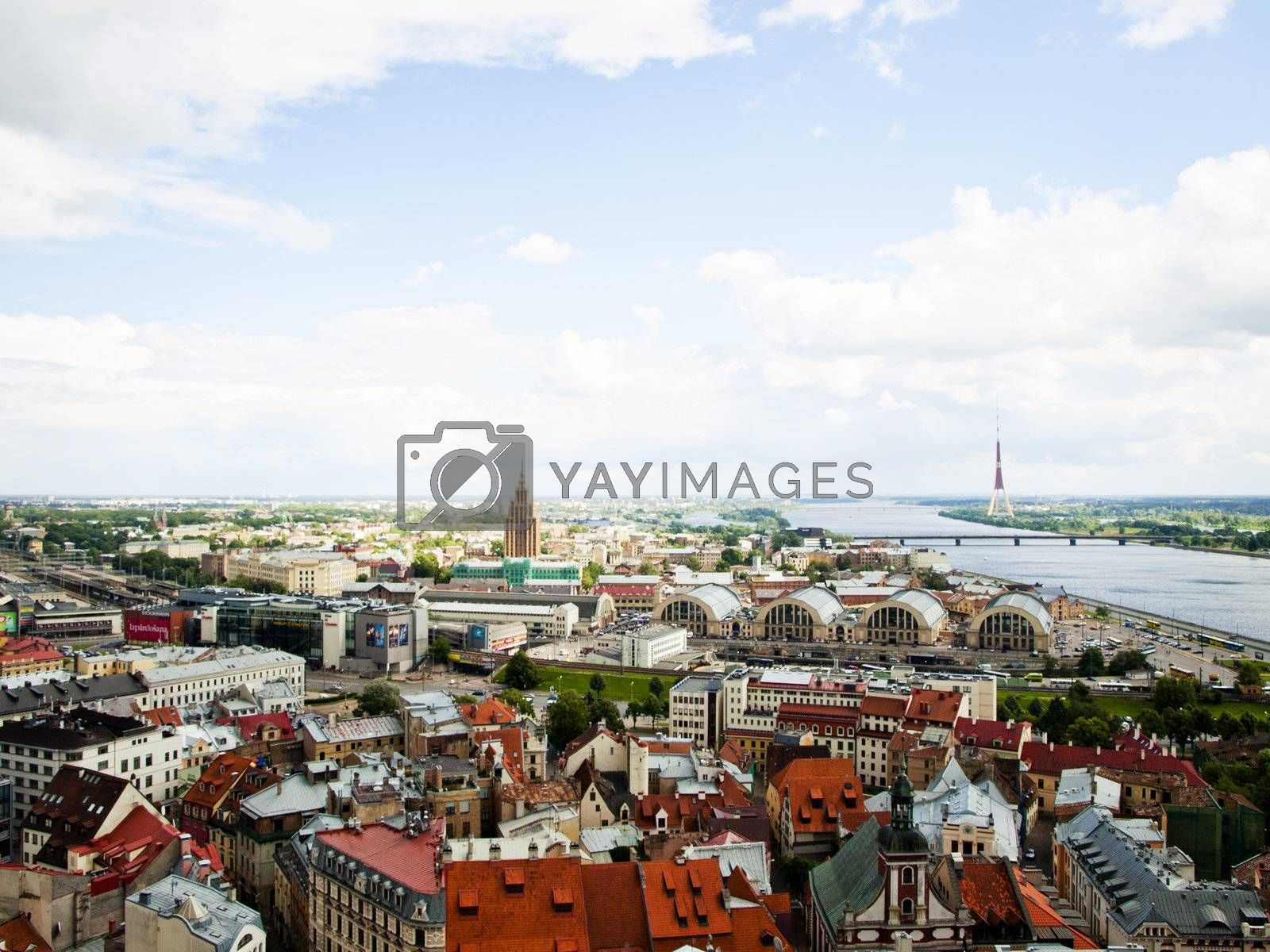 Panoramic view of the city of Latvia - Riga, summer 2012