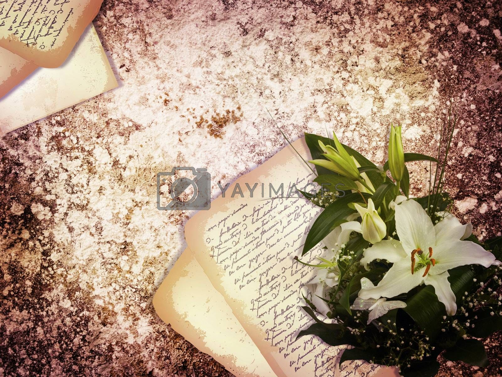 abstract vintage holiday grunge background with old letter and lily flowers