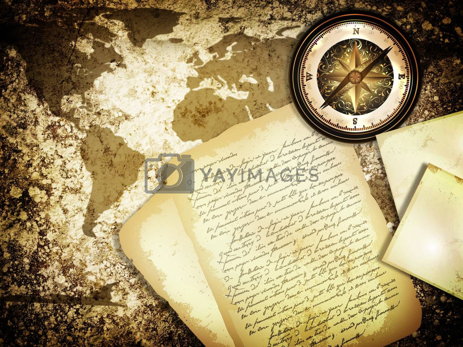 abstract vintage grunge travel background with world map, compass and old letter