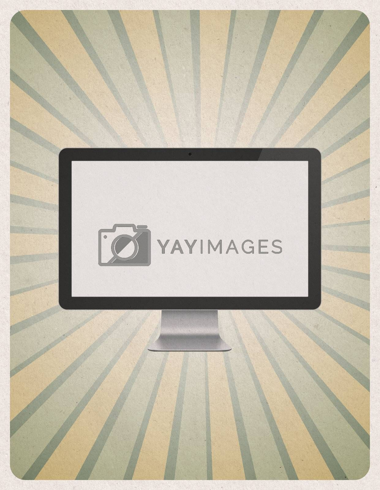 Retro style poster or vintage advertisement with modern blank computer monitor on grunge paper background.