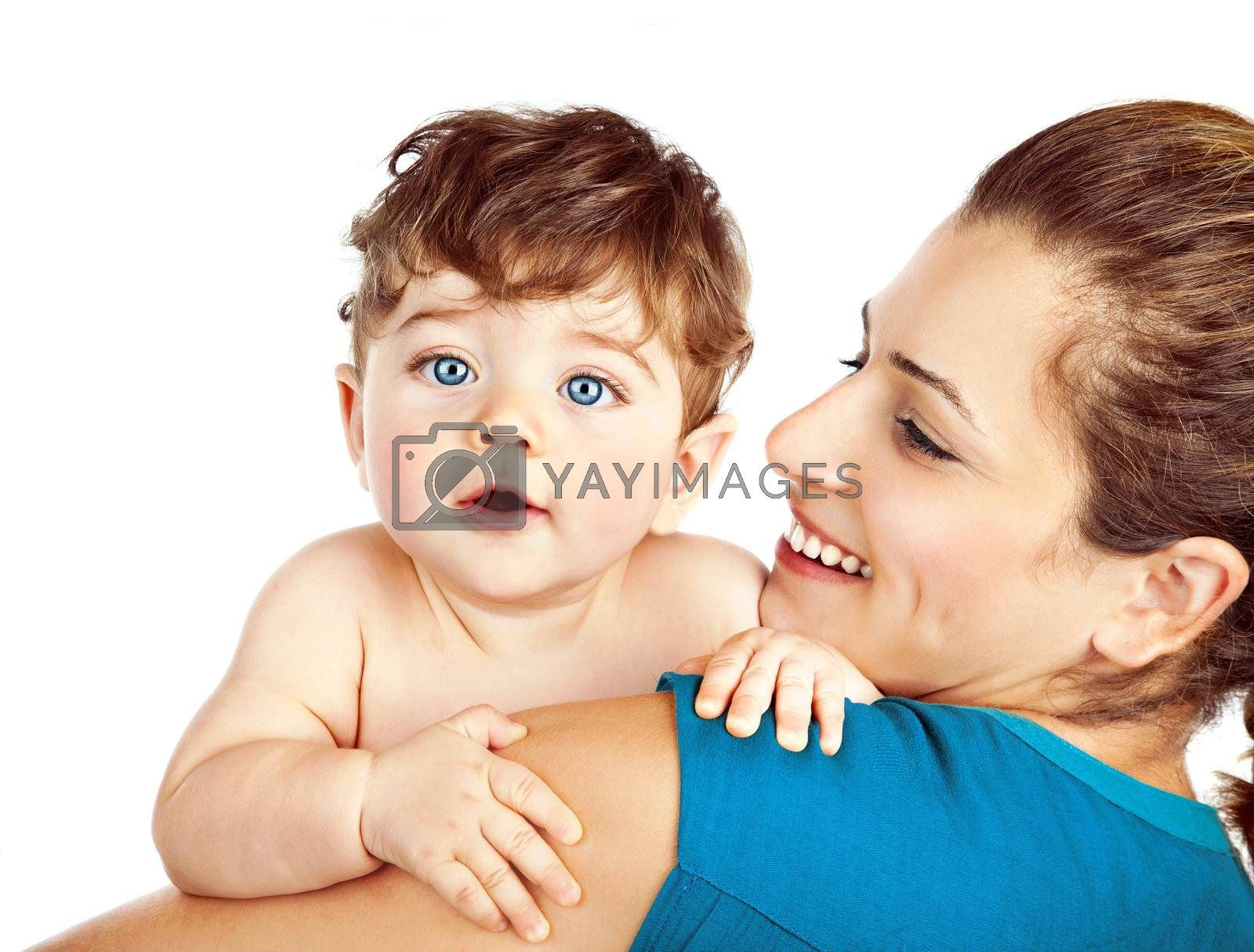 Mother with little baby isolated on white background, young beautiful mom hugging son, pretty brunet woman playing with cute small boy, smiling girl holding adorable sweet child, happy family concept