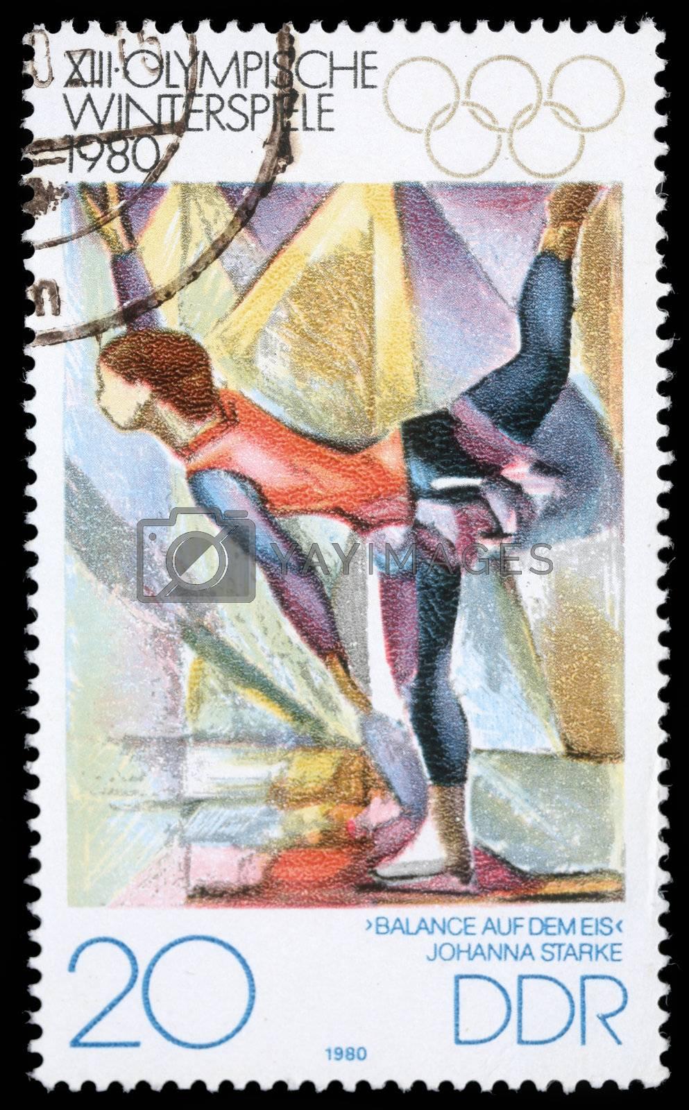 "DDR - CIRCA 1980: A stamp printed in DDR shows Johanna Starke ""Balance auf dem eis"" , from series, circa 1980"