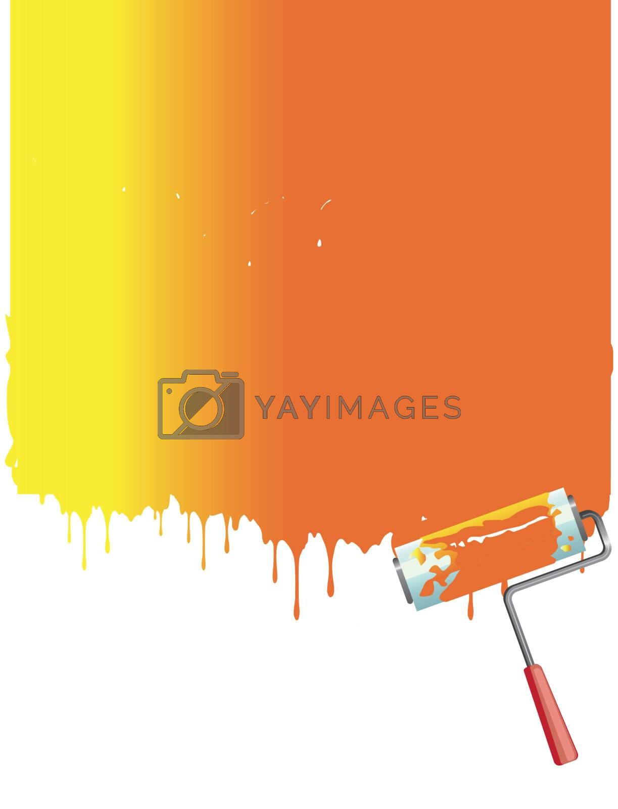 orange roller painting the white wall. Vector background