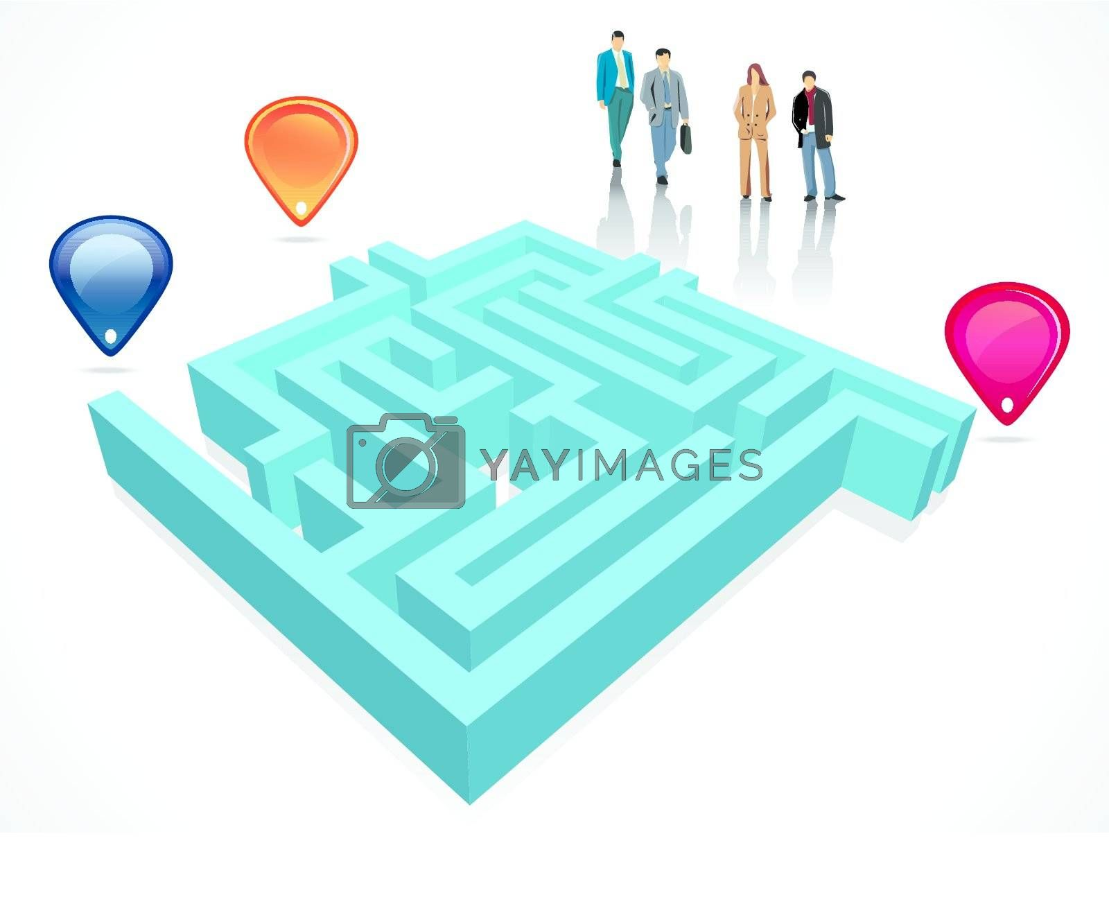 Labyrinth maze concept with business people
